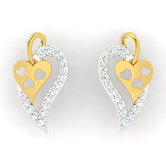 diamond studded gold jewellery - Tita Studs and Tops Earrings - Pristine Fire - 2