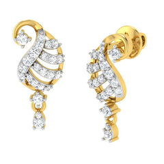 diamond studded gold jewellery - Ada Drops and Danglers Earrings - Pristine Fire - 1