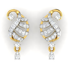 diamond studded gold jewellery - Ada Drops and Danglers Earrings - Pristine Fire - 2