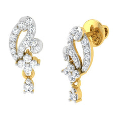 diamond studded gold jewellery - Aki Drops and Danglers Earrings - Pristine Fire - 1
