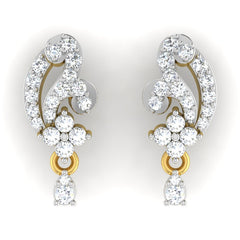 diamond studded gold jewellery - Aki Drops and Danglers Earrings - Pristine Fire - 2
