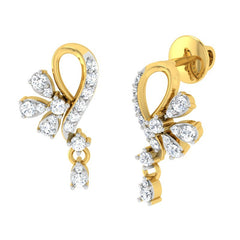 diamond studded gold jewellery - Aly Drops and Danglers Earrings - Pristine Fire - 1