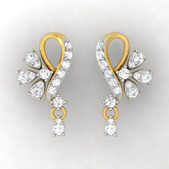 diamond studded gold jewellery - Aly Drops and Danglers Earrings - Pristine Fire - 2