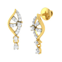 diamond studded gold jewellery - Amy Drops and Danglers Earrings - Pristine Fire - 1