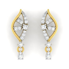 diamond studded gold jewellery - Amy Drops and Danglers Earrings - Pristine Fire - 2