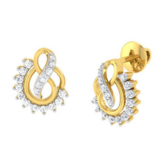 diamond studded gold jewellery - Ann Studs and Tops Earrings - Pristine Fire - 1