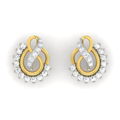 diamond studded gold jewellery - Ann Studs and Tops Earrings - Pristine Fire - 2