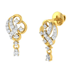 diamond studded gold jewellery - Ava Drops and Danglers Earrings - Pristine Fire - 1