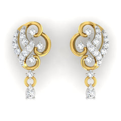diamond studded gold jewellery - Ava Drops and Danglers Earrings - Pristine Fire - 2