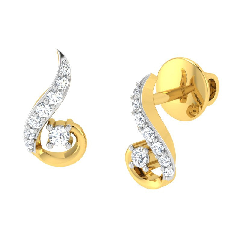 diamond studded gold jewellery - Dia Studs and Tops Earrings - Pristine Fire - 1