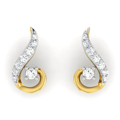 diamond studded gold jewellery - Dia Studs and Tops Earrings - Pristine Fire - 2