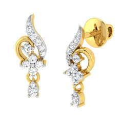 diamond studded gold jewellery - Ela Drops and Danglers Earrings - Pristine Fire - 1