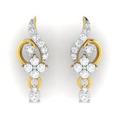 diamond studded gold jewellery - Ela Drops and Danglers Earrings - Pristine Fire - 2