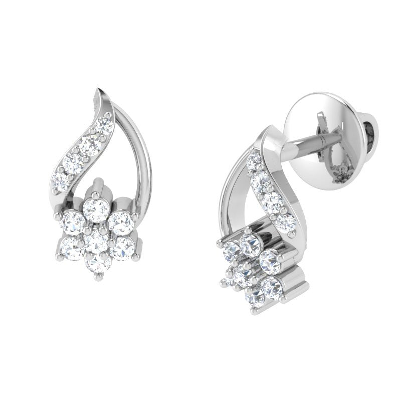 diamond studded gold jewellery - Eve Studs and Tops Earrings - Pristine Fire - 1
