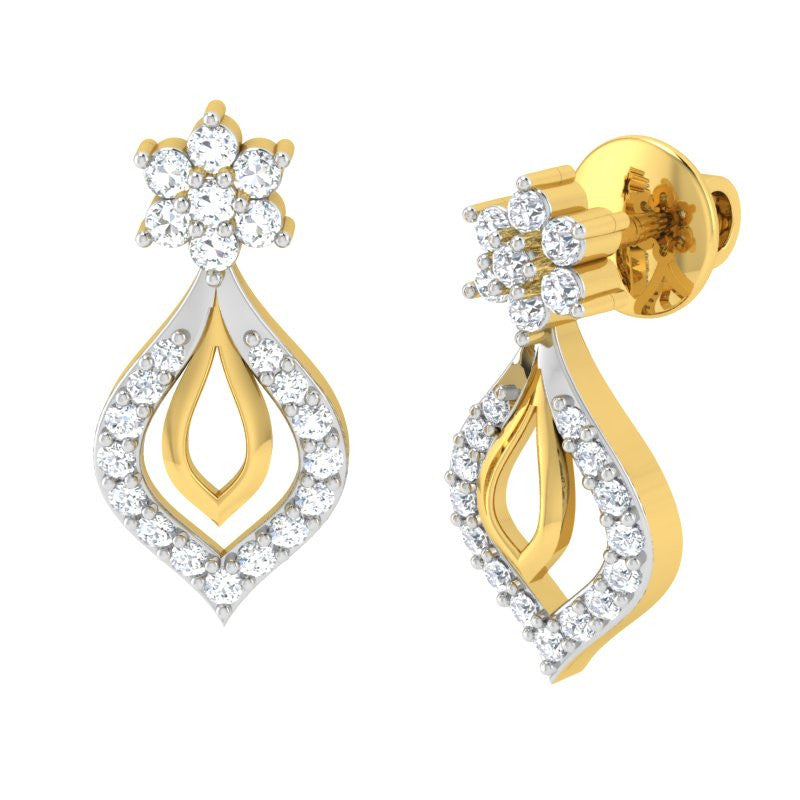 diamond studded gold jewellery - Ila Studs and Tops Earrings - Pristine Fire - 1