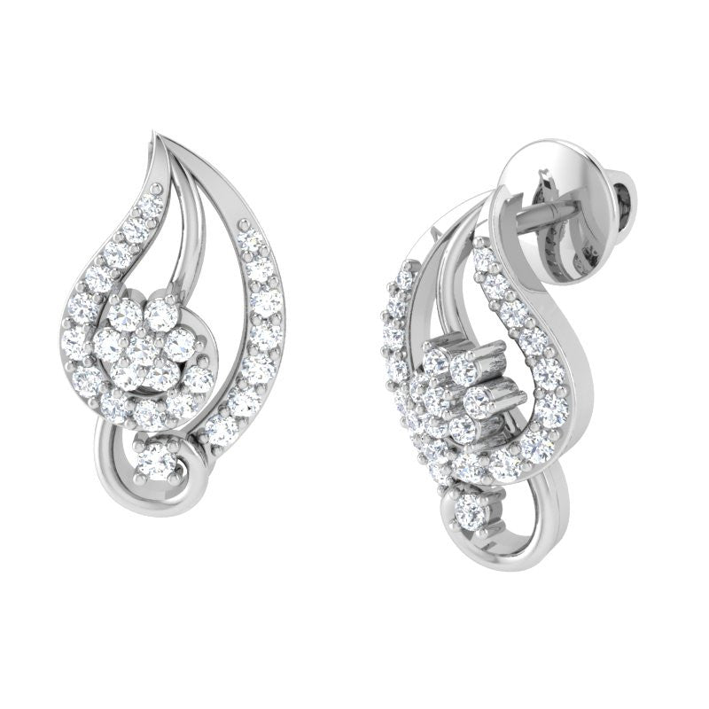 diamond studded gold jewellery - Ina Studs and Tops Earrings - Pristine Fire - 1
