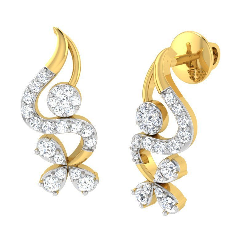 diamond studded gold jewellery - Ira Studs and Tops Earrings - Pristine Fire - 1