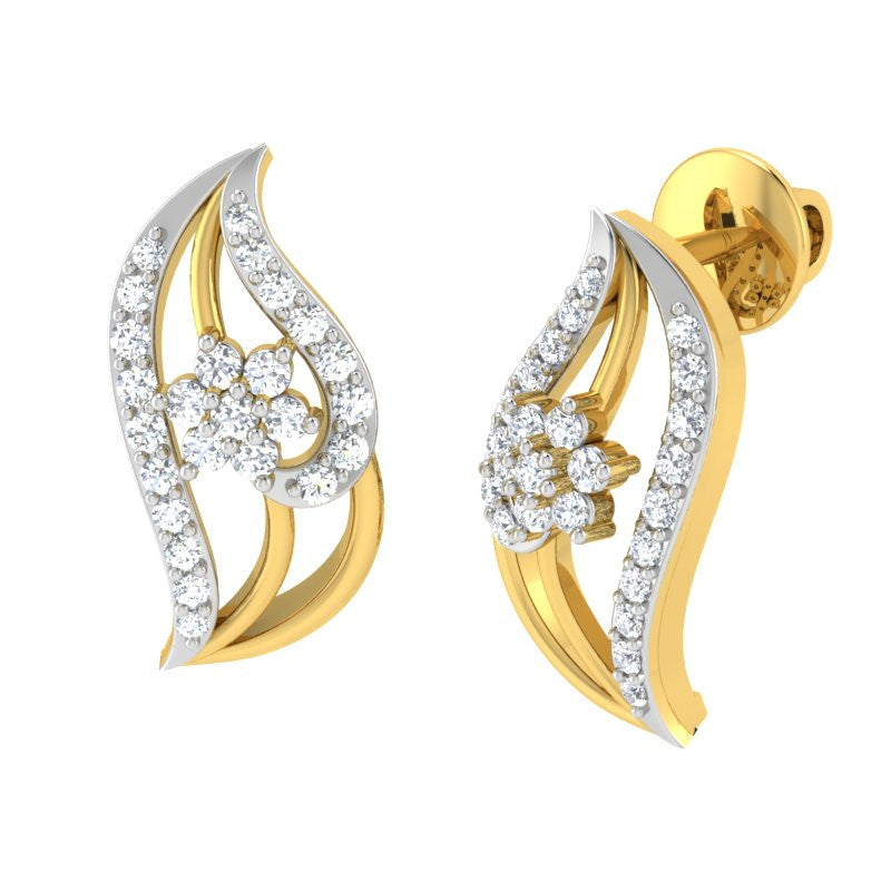 diamond studded gold jewellery - Iva Studs and Tops Earrings - Pristine Fire - 1