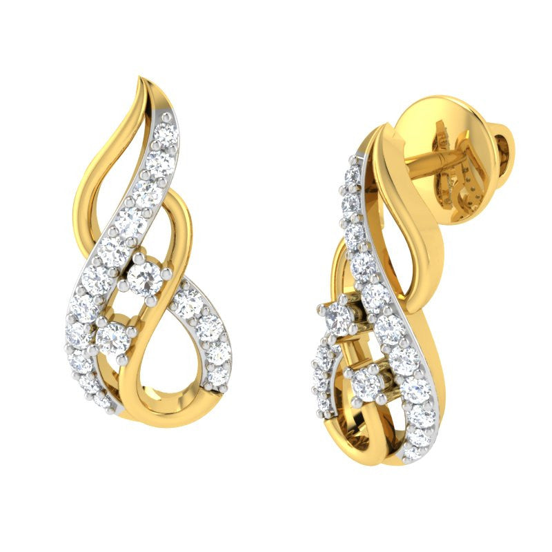 diamond studded gold jewellery - Joy Studs and Tops Earrings - Pristine Fire - 1