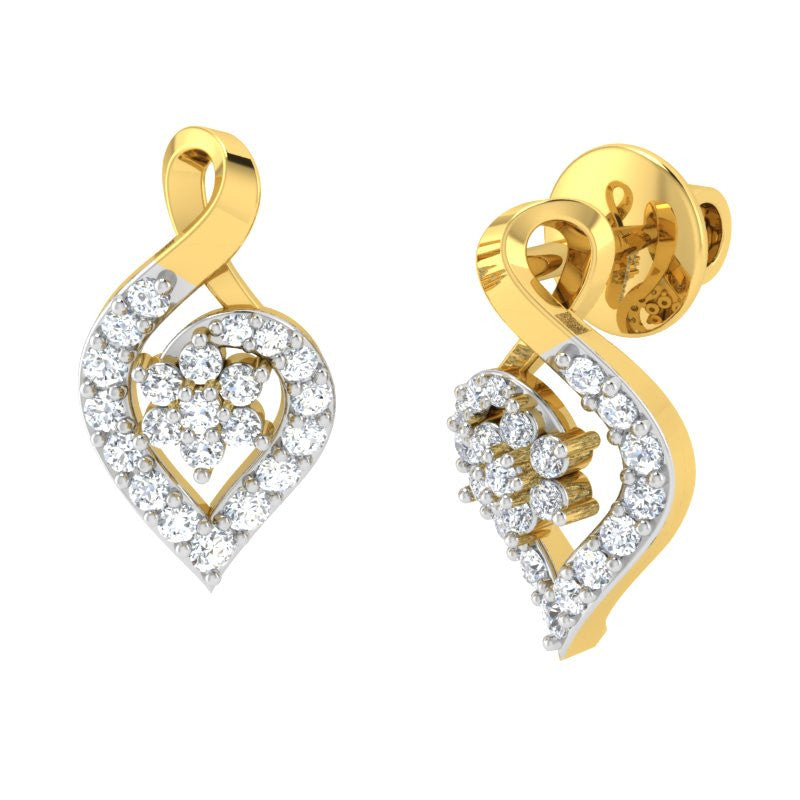 diamond studded gold jewellery - Kim Studs and Tops Earrings - Pristine Fire - 1