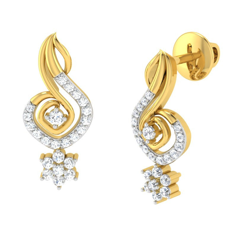 diamond studded gold jewellery - Lia Drops and Danglers Earrings - Pristine Fire - 1