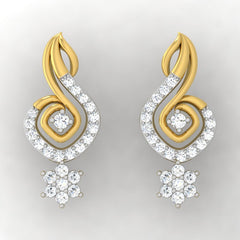 diamond studded gold jewellery - Lia Drops and Danglers Earrings - Pristine Fire - 2