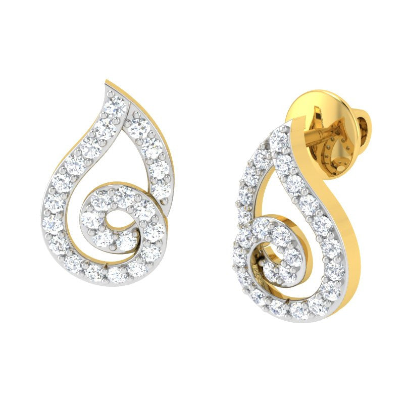 diamond studded gold jewellery - Liv Studs and Tops Earrings - Pristine Fire - 1