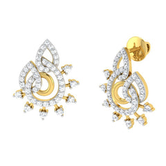 diamond studded gold jewellery - Liz Studs and Tops Earrings - Pristine Fire - 1