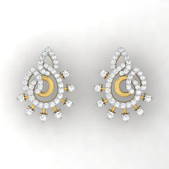 diamond studded gold jewellery - Liz Studs and Tops Earrings - Pristine Fire - 2
