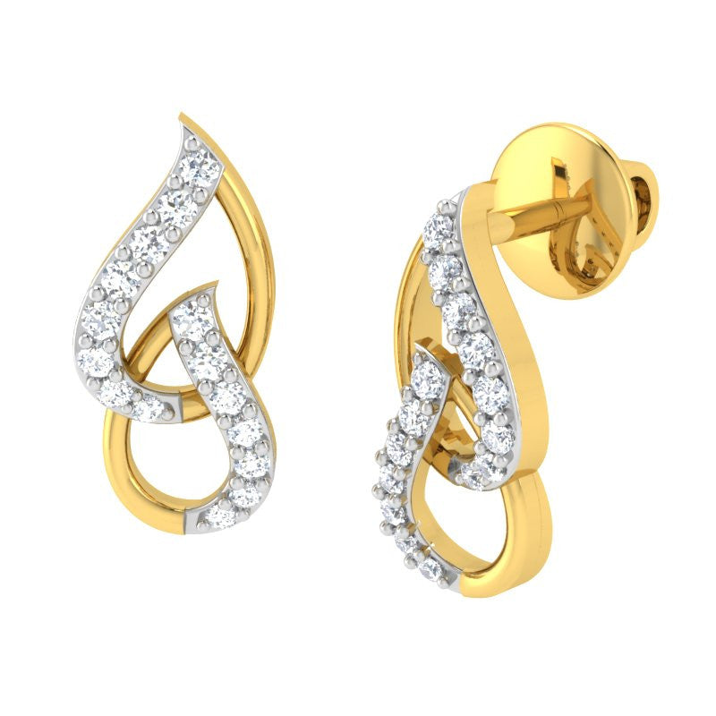 diamond studded gold jewellery - Meg Studs and Tops Earrings - Pristine Fire - 1