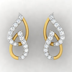 diamond studded gold jewellery - Meg Studs and Tops Earrings - Pristine Fire - 2