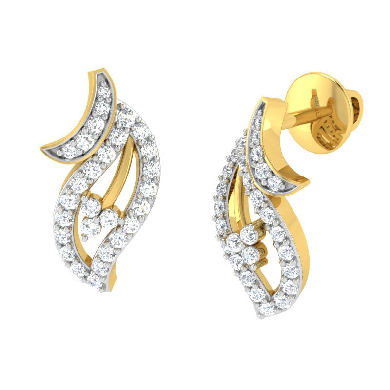 diamond studded gold jewellery - Mya Studs and Tops Earrings - Pristine Fire - 1