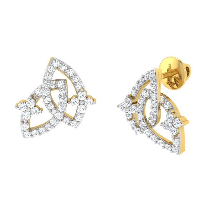diamond studded gold jewellery - Ode Studs and Tops Earrings - Pristine Fire - 1