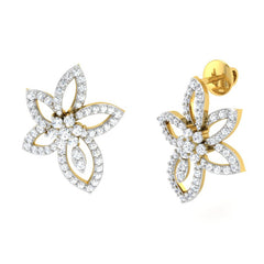 diamond studded gold jewellery - Ora Studs and Tops Earrings - Pristine Fire - 1