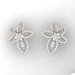 diamond studded gold jewellery - Ora Studs and Tops Earrings - Pristine Fire - 2