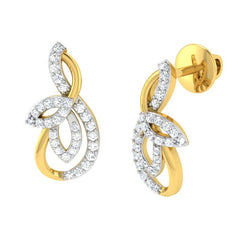 diamond studded gold jewellery - Ria Studs and Tops Earrings - Pristine Fire - 1