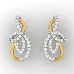 diamond studded gold jewellery - Ria Studs and Tops Earrings - Pristine Fire - 2