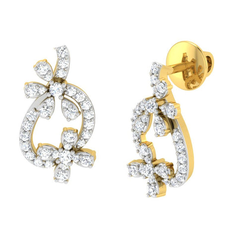 diamond studded gold jewellery - Roz Studs and Tops Earrings - Pristine Fire - 1
