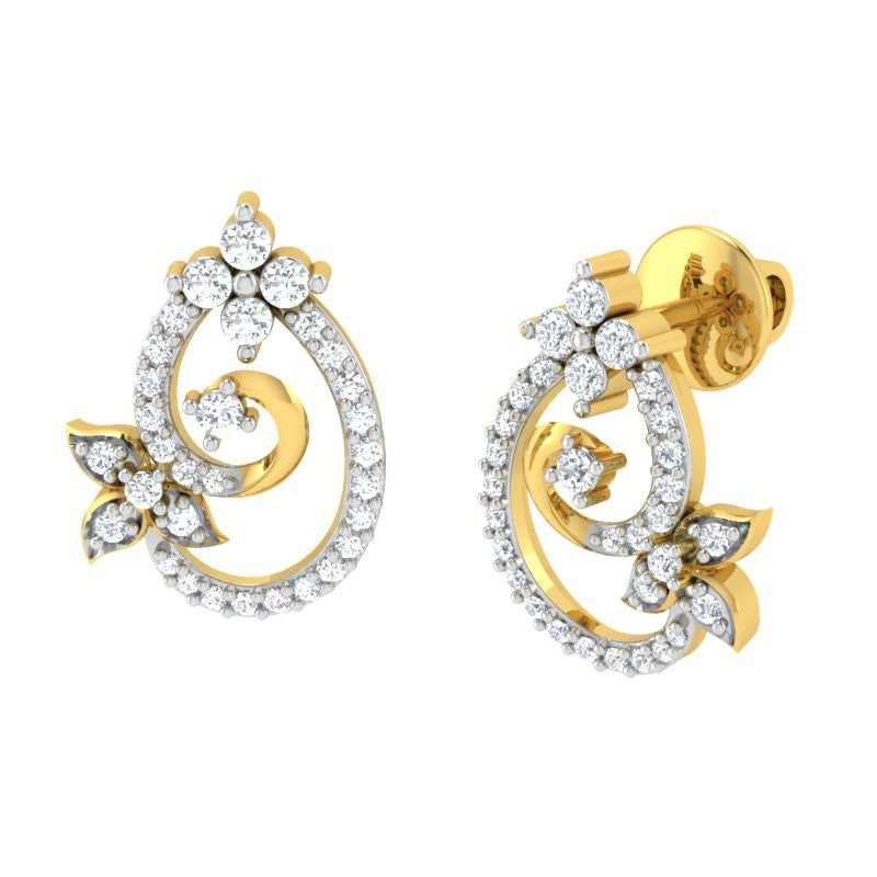 diamond studded gold jewellery - Sue Studs and Tops Earrings - Pristine Fire - 1