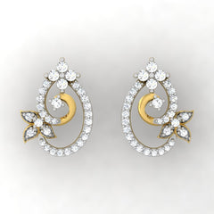 diamond studded gold jewellery - Sue Studs and Tops Earrings - Pristine Fire - 2
