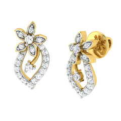diamond studded gold jewellery - Tia Studs and Tops Earrings - Pristine Fire - 1