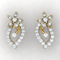 diamond studded gold jewellery - Tia Studs and Tops Earrings - Pristine Fire - 2