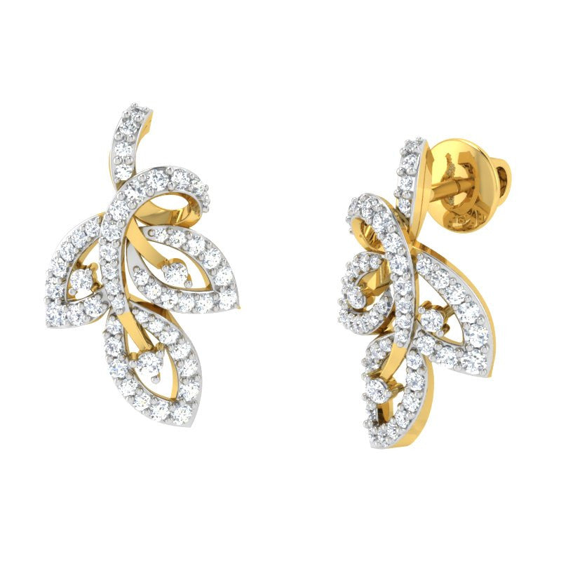 diamond studded gold jewellery - Viv Studs and Tops Earrings - Pristine Fire - 1