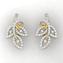 diamond studded gold jewellery - Viv Studs and Tops Earrings - Pristine Fire - 2
