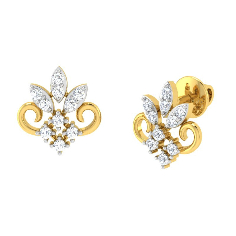 diamond studded gold jewellery - Zoe Studs and Tops Earrings - Pristine Fire - 1