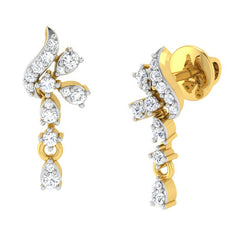 diamond studded gold jewellery - Adah Drops and Danglers Earrings - Pristine Fire - 1