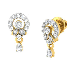 diamond studded gold jewellery - Adya Drops and Danglers Earrings - Pristine Fire - 1