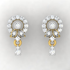 diamond studded gold jewellery - Adya Drops and Danglers Earrings - Pristine Fire - 2
