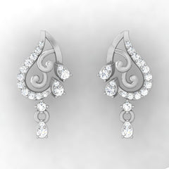 diamond studded gold jewellery - Aida Drops and Danglers Earrings - Pristine Fire - 2