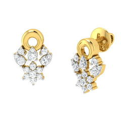 diamond studded gold jewellery - Aina Studs and Tops Earrings - Pristine Fire - 1